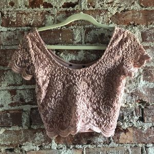 pink lace floral crop top | size small